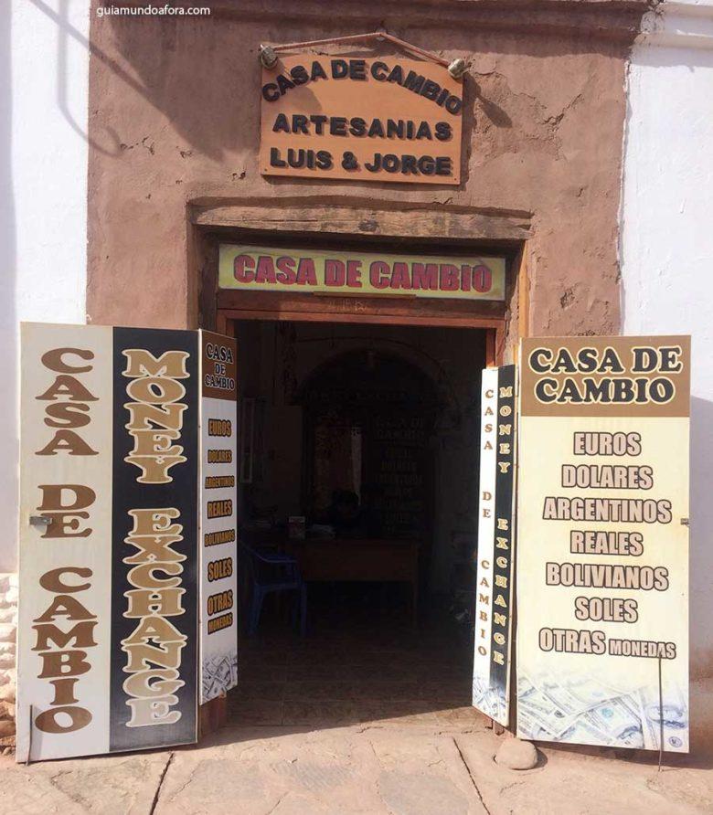Casa de câmbio no Atacama
