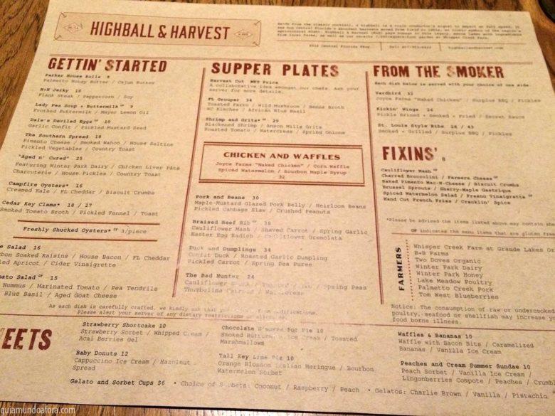 Cardápio Highball and Harvest
