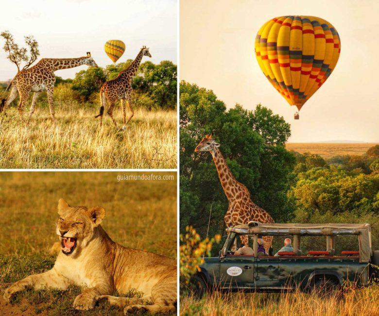 balões e girafas no safari na África
