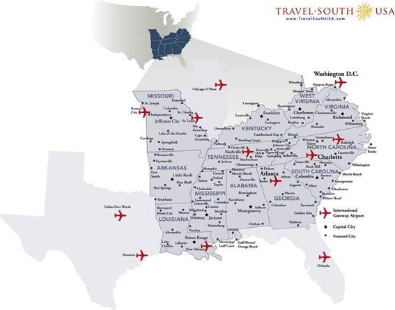 Mapa dos doze Estados do Sul dos Estados Unidos, que serão representados na WTM Latin America 2017
