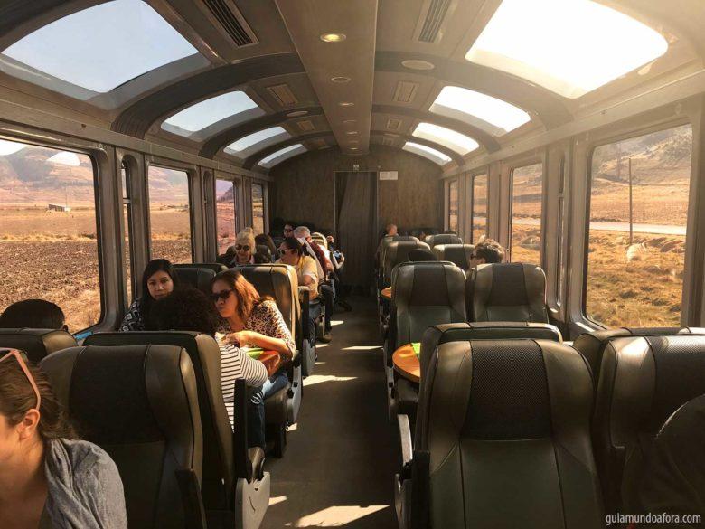 trem para Machu Picchu Vistadome