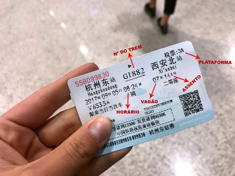 ticket de trem na China