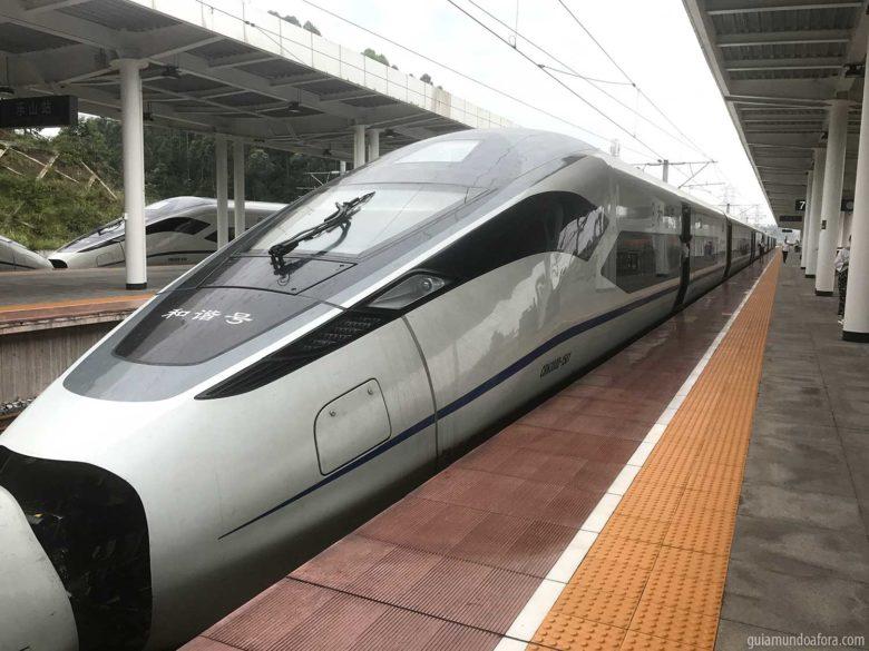 trem na China de velocidade