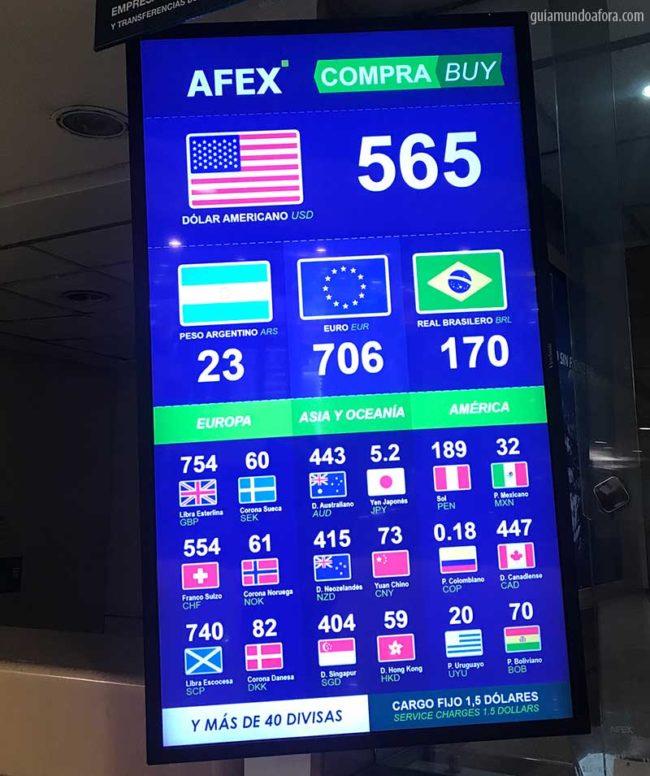 cotacao-aeroporto-santiago-min-650x776 Moeda do Chile: onde trocar dinheiro em Santiago? Levo Real?