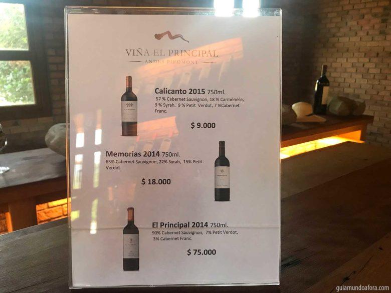 precos-vinho-elprincipal-780x585 Tour e almoço romântico na Vinícola El Principal em Santiago
